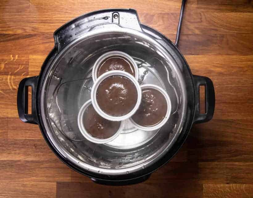 Instant Pot Lava Cake | Instant Pot Chocolate Fondant | Instant Pot Molten Chocolate Cake: remove chocolate lava cakes from Instant Pot Pressure Cooker
