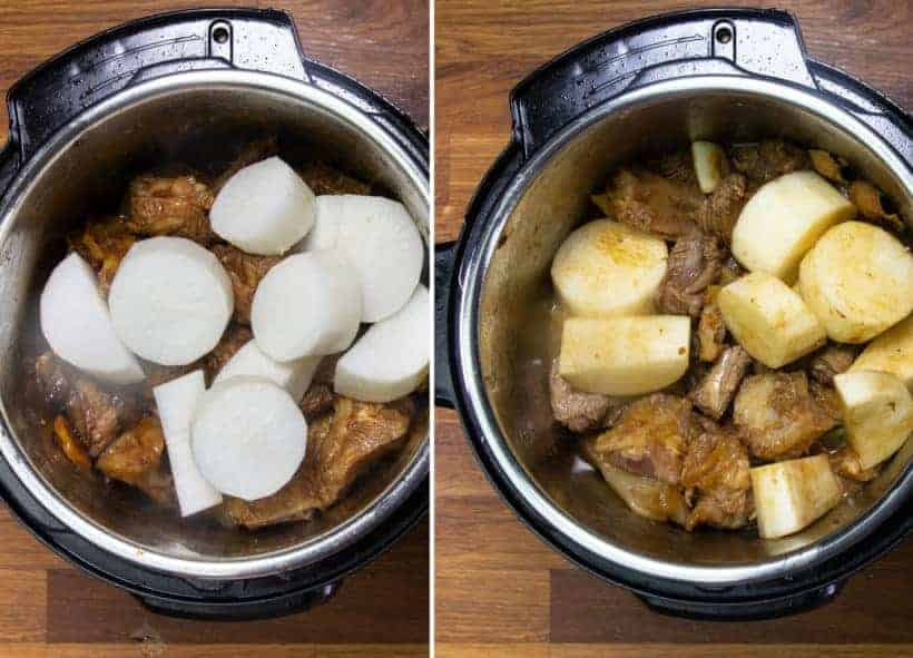 Instant Pot Chinese Beef Stew: pressure cook daikon in Instant Pot Pressure Cooker