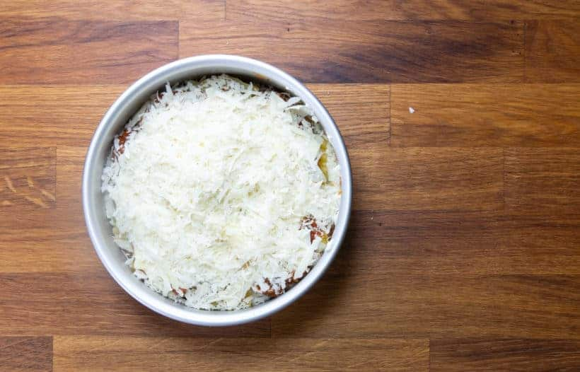 Instant Pot Lasagna: add freshly grated Parmesan cheese on top of lasagna