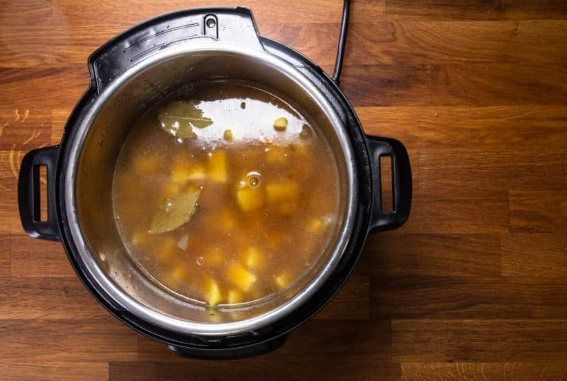 Instant Pot Potato Soup: add potatoes and unsalted chicken stock in Instant Pot Pressure Cooker
