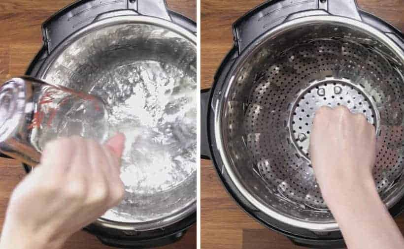 Instant Pot Carrots: add water and steamer basket in Instant Pot Pressure Cooker