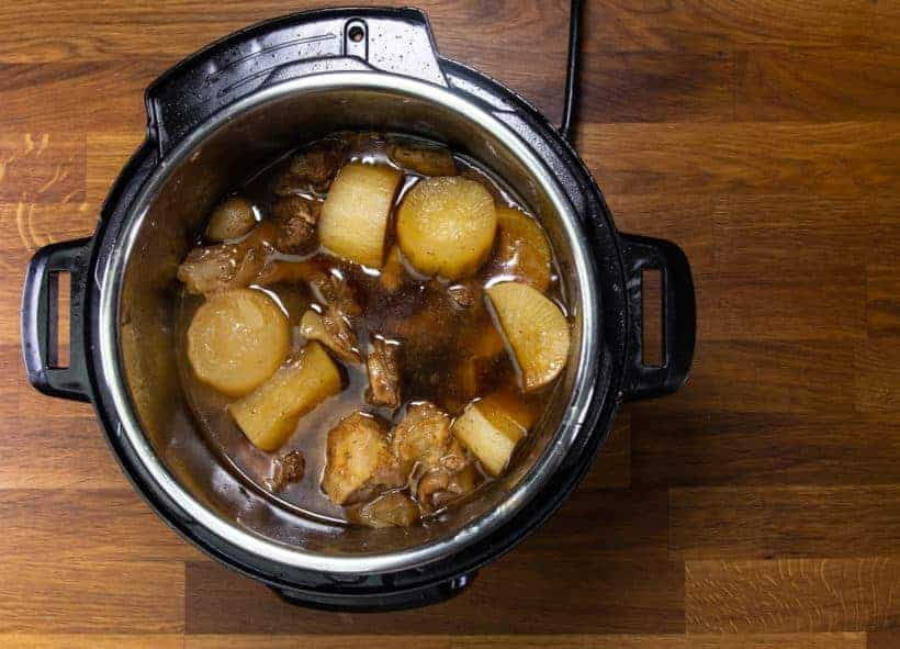 Instant Pot Chinese Beef Stew: pressure cook beef finger, beef tendon, daikon with Chu Hou Sauce in Instant Pot Pressure Cooker