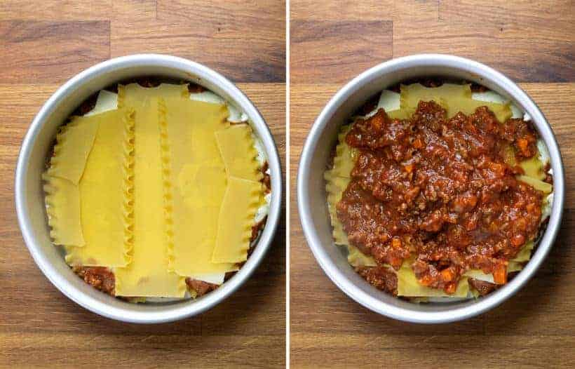 Instant Pot Lasagna: layer lasagna noodles, sauce, ricotta cheese, mozzarella cheese in springform pan