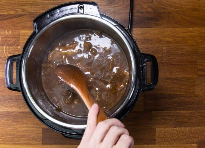 Instant Pot Chinese Beef Stew: thicken beef stew chu hou sauce in Instant Pot Pressure Cooker