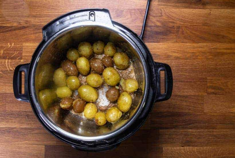 Instant Pot Roasted Potatoes: sauted baby potatoes in Instant Pot Pressure Cooker