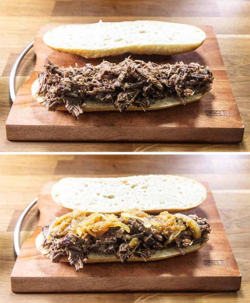 Instant Pot French Dip | Pressure Cook French Dip: Assemble French Dip Sandwich