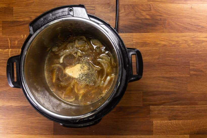 Instant Pot Italian Beef | Pressure Cooker Italian Beef: add seasoning and sauces in Instant Pot Pressure Cooker