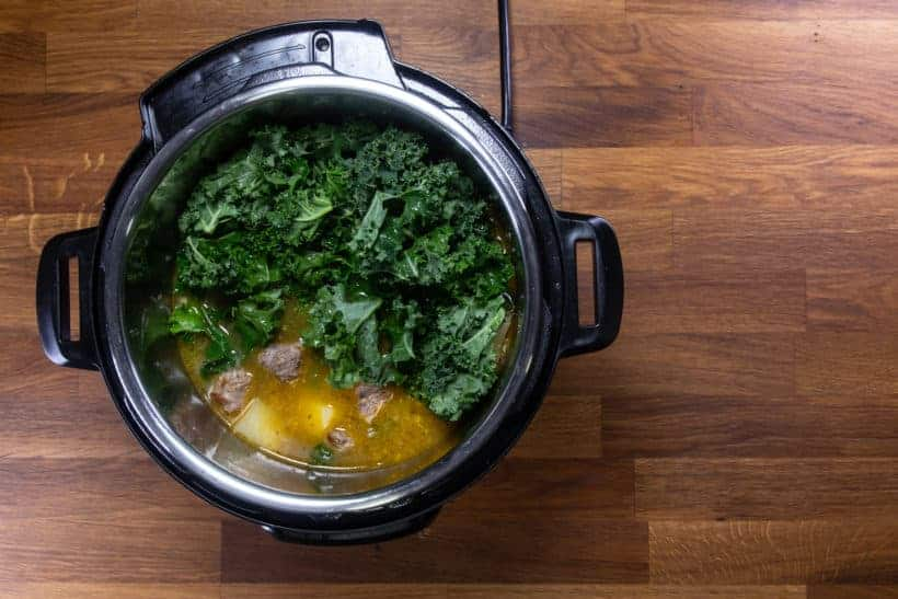 Instant Pot Zuppa Toscana Recipe | Pressure Cooker Zuppa Toscana Soup | Instant Pot Sausage Kale Potato Soup: add kale in Instant Pot Pressure Cooker