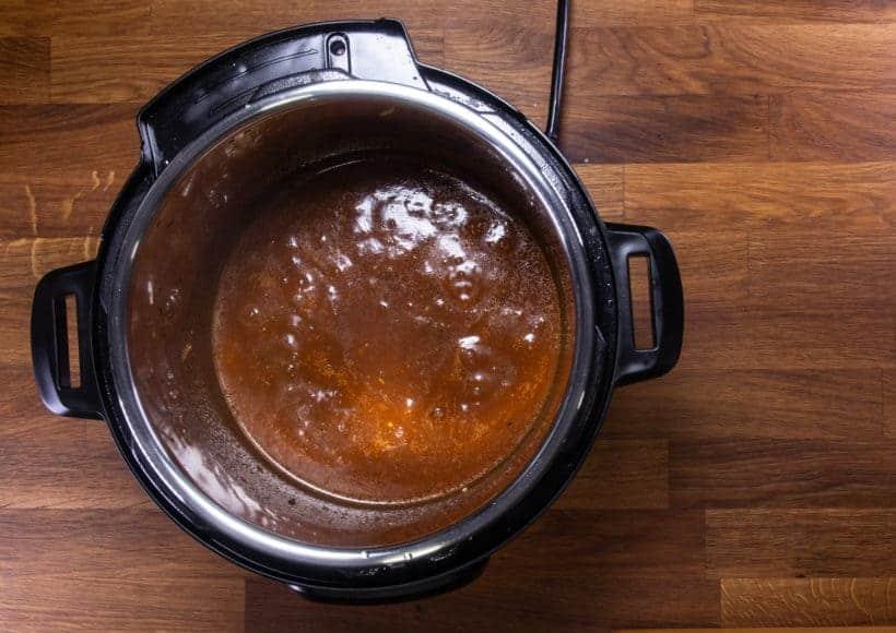 Instant Pot Brisket | Pressure Cooker Beef Brisket: thicken homemade bbq sauce in Instant Pot Pressure Cooker