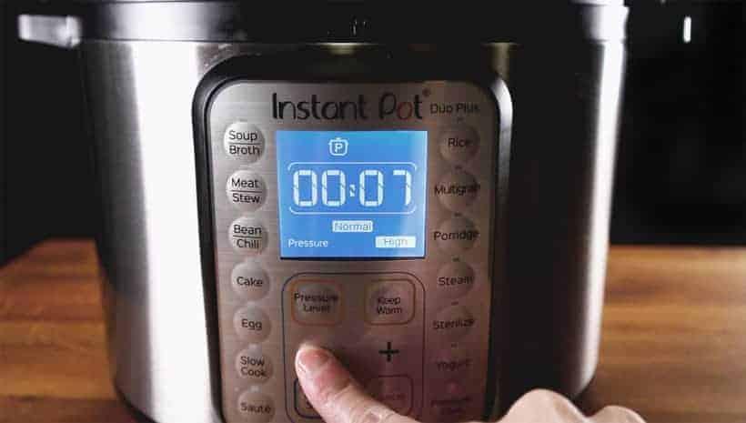 Instant Pot Pressure Cooker High Pressure 7 minutes