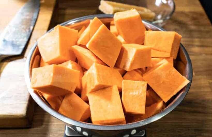 Instant Pot Chinese Sweet Potato Soup: cut sweet potato chunks into 2 inches chunks